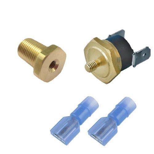 "American Volt Electric Radiator Fan Thermostat Switch 1/8"" 1/4"" 3/8"" 1/2"" Inch NPT Temperature Sensor Thread-in Push Probe (1/8"" NPT, 170'F On - 155'F Off)"