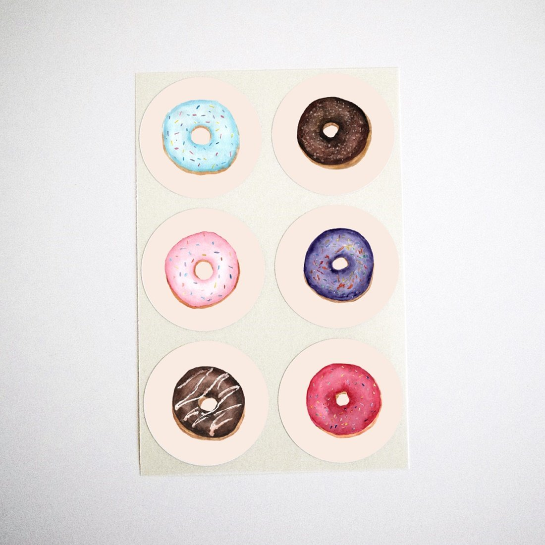"""Mixed Donuts Stickers, Round Envelope Seals, Party Favors Labels, Cupcake and Donut Toppers, Birthday Party and Baby Shower Supplies, by Once Upon Supplies, 1.5"""", 30 Stickers"""