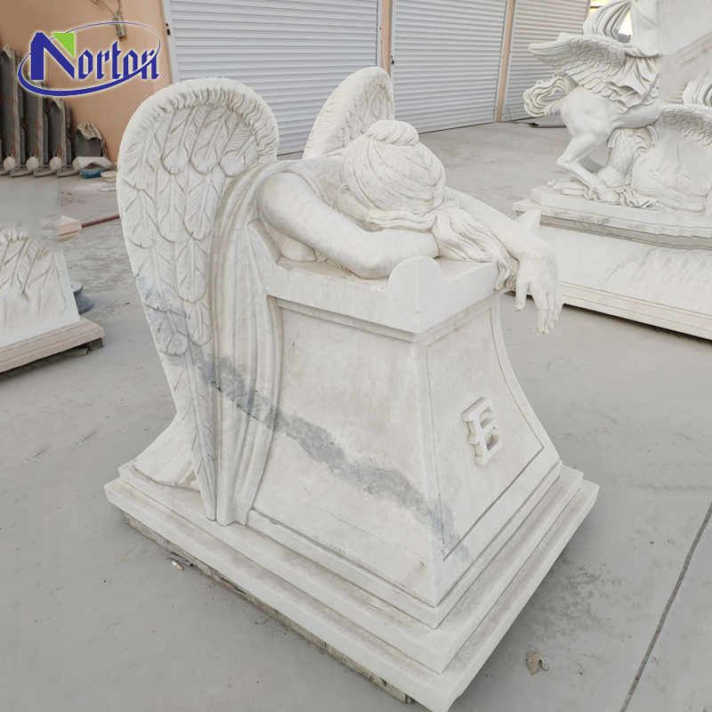 Hand-carved natural stone granite headstone white marble kneeling angel tombstone for sale