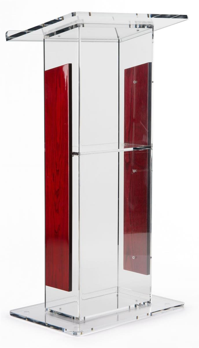 """Acrylic Lectern with Mahogany Accent Panels, Includes Removable Shelf, 1-Inch Lip On Podium Surface, Easy To Assemble, Hardware Included - 45-34"""" H x 23-1/2"""" W"""