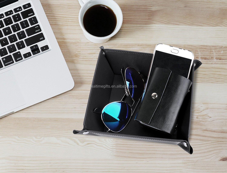 Fashion Gift Jewelry Nightstand Organizer Watch Coin Change Key Valet Tray Box Pu Leather Bedside Storage Tray Buy Leather Bedside Storage