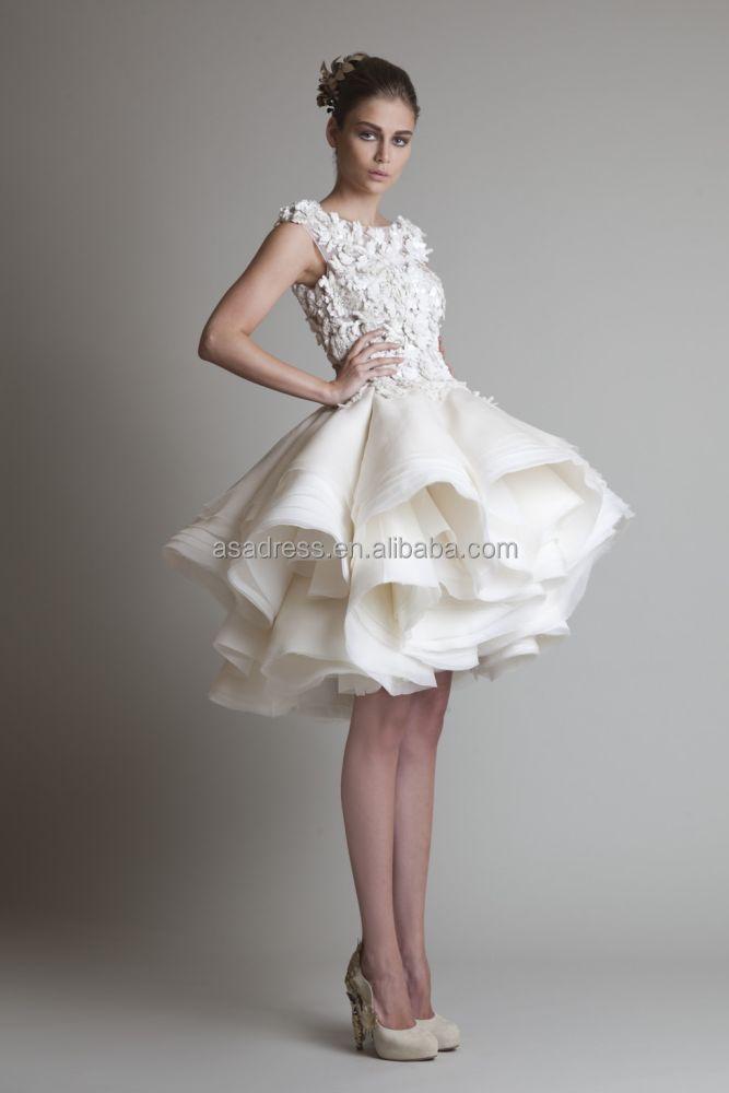 Alibaba New Style Short Organza Flowers Knee Length Dress Wedding Baby Girl Beach