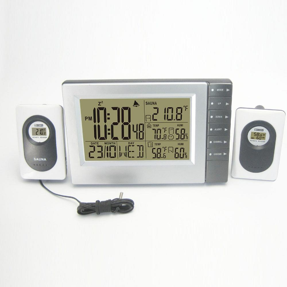 Weather Station Clock with RF sauna <strong>temperature</strong> range,Digital thermo hygrometer weather station clock
