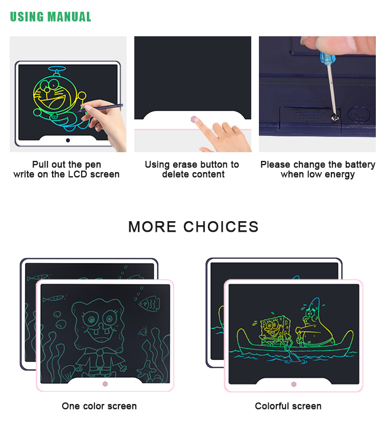 Bulk 15 Inch Children Electronic Memo Pad Erasable Paperless Graphic Lcd Writing Tablet For Drawing