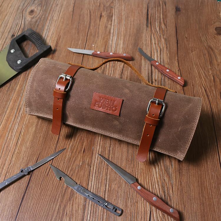 Vintage Gewachstem Canvas Messer Werkzeug Rolltasche Mit Leder