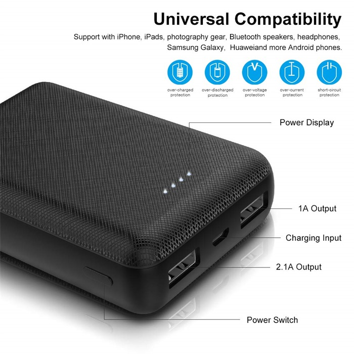 China Electronics New Products Double USB Portable Charger Mobile Pocket Mini Credit Card Size pPwer Bank 10000mah