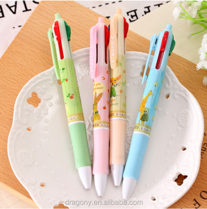 Stationery Cute Cartoon 4 Color Ball Pens Student Prizes Gifts Wholesale Refill Plastic Pen