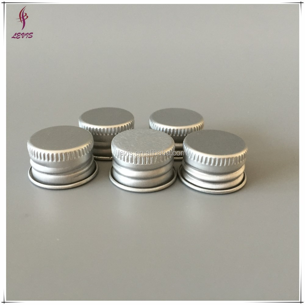 Silver aluminium caps for glass bottle