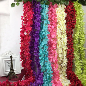 Flowerking brand plastic hanging flowers decorative hydrangea aritificial hanging wedding fabric silk flower string