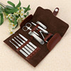 New 10 in1 New Unisex Women Men Manicure Grooming Set Kit Nail Clipper Luxury Genuine Brown Leather Case Groom&travelling Kit