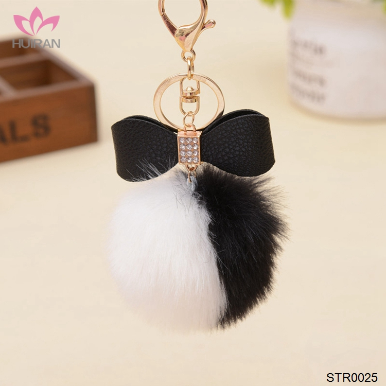 Fashion Leather Bow Pom Pom Fur keychain Wholesale