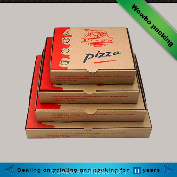 Wholesale Cheap Custom Logo Printed Kraft Paper Pizza Box with insert paper