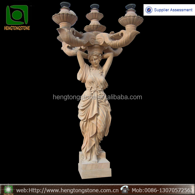 Stone garden products lighting lady statue for sale