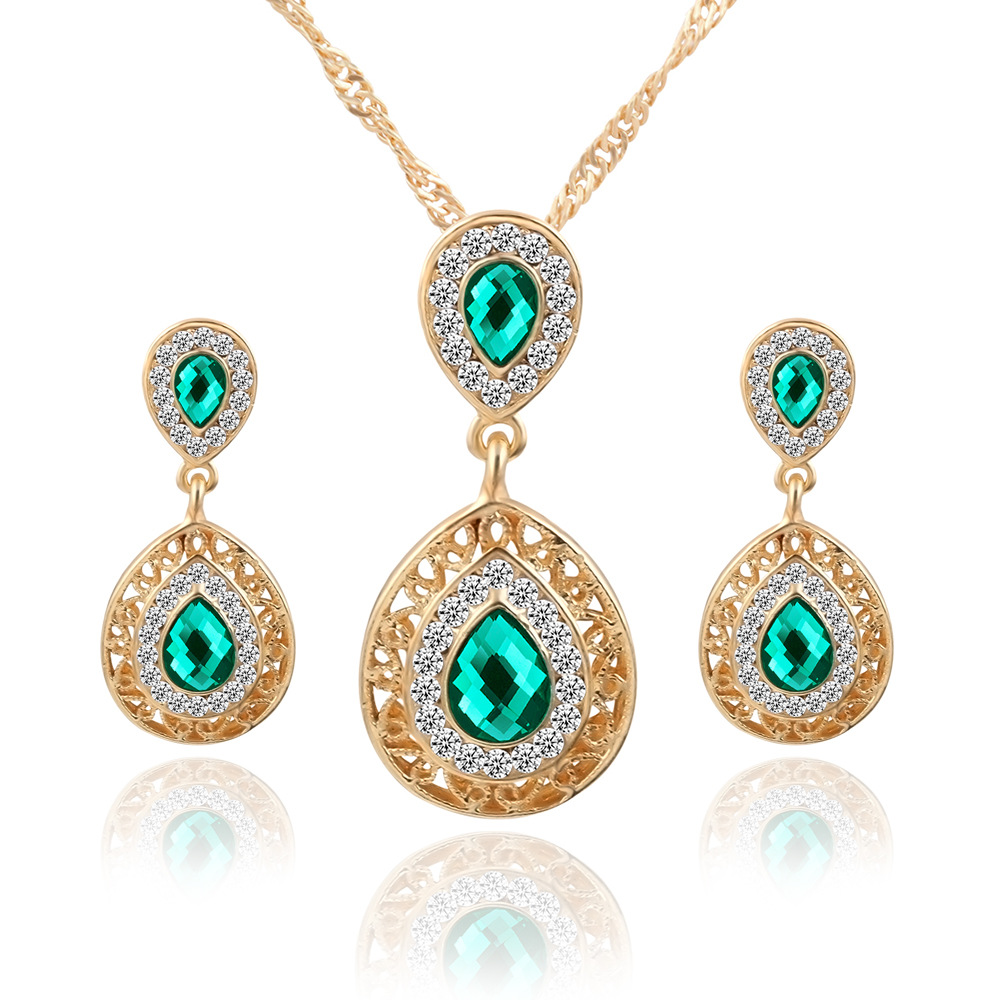 42K1GN Environmental alloy High Quality Yellow Gold Color water drop Fashion Indian Jewelry Sets For Girls