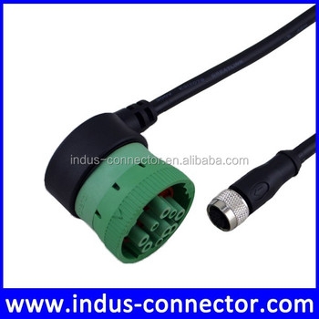 Waterproof Deutsch J1708 J1939 9 Pin Socket To M12 Trailer Cable