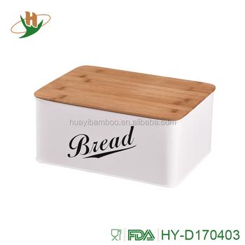 Kitchen Wooden Bread Bin Storage Box With Bamboo Lid