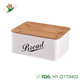 Kitchen wooden bread bin storage box with bamboo lid