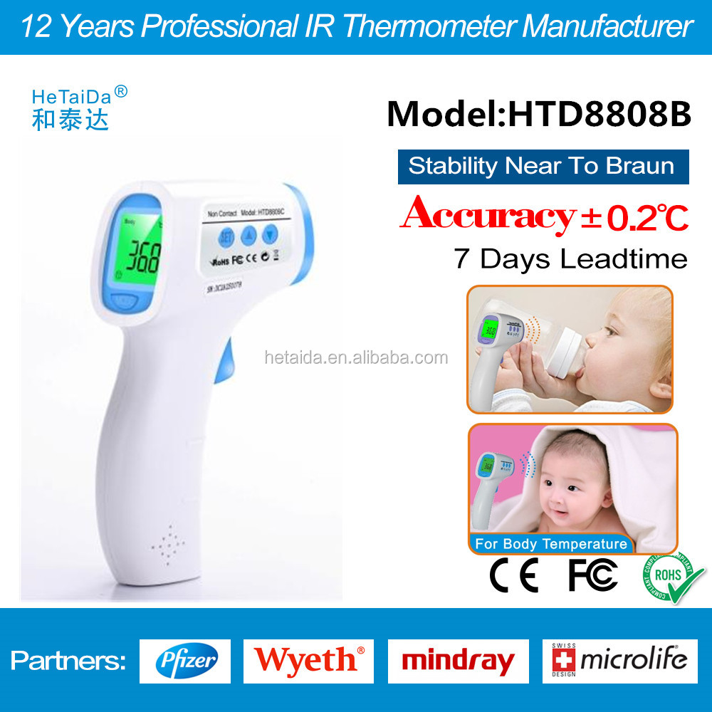 Baby Gift 2016 HTD8808B Non Contact Digital forehead InfraredThermometer Voice system Thermometer Health Care Product