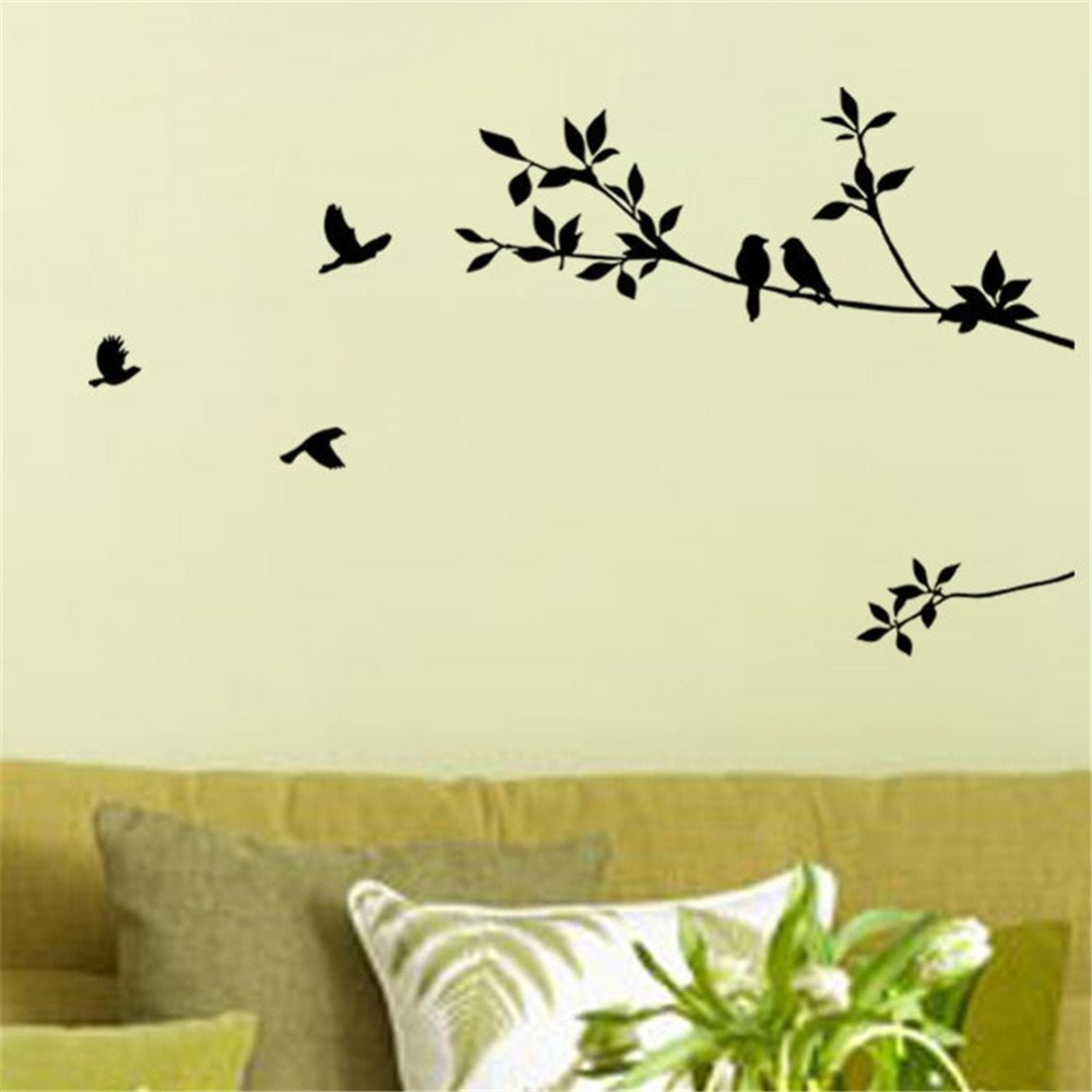 tree branch and birds diy removable wall decal for living room bedroom vinyl wall sticker art. Black Bedroom Furniture Sets. Home Design Ideas