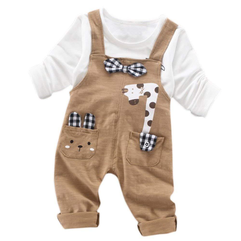 JIANLANPTT 2Pcs Baby Boy Girls T-shirt Tops+Pants Overalls Outfits Clothes Set