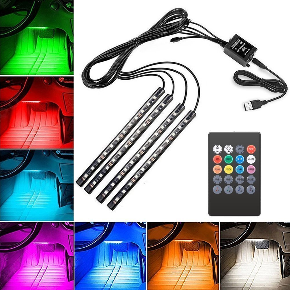 Car LED Strip Light, Suelight 4pcs Auto Interior Music LED Strip Lighting Kit, Wireless Remote Control and Smart USB Port (8 colors,48LED)