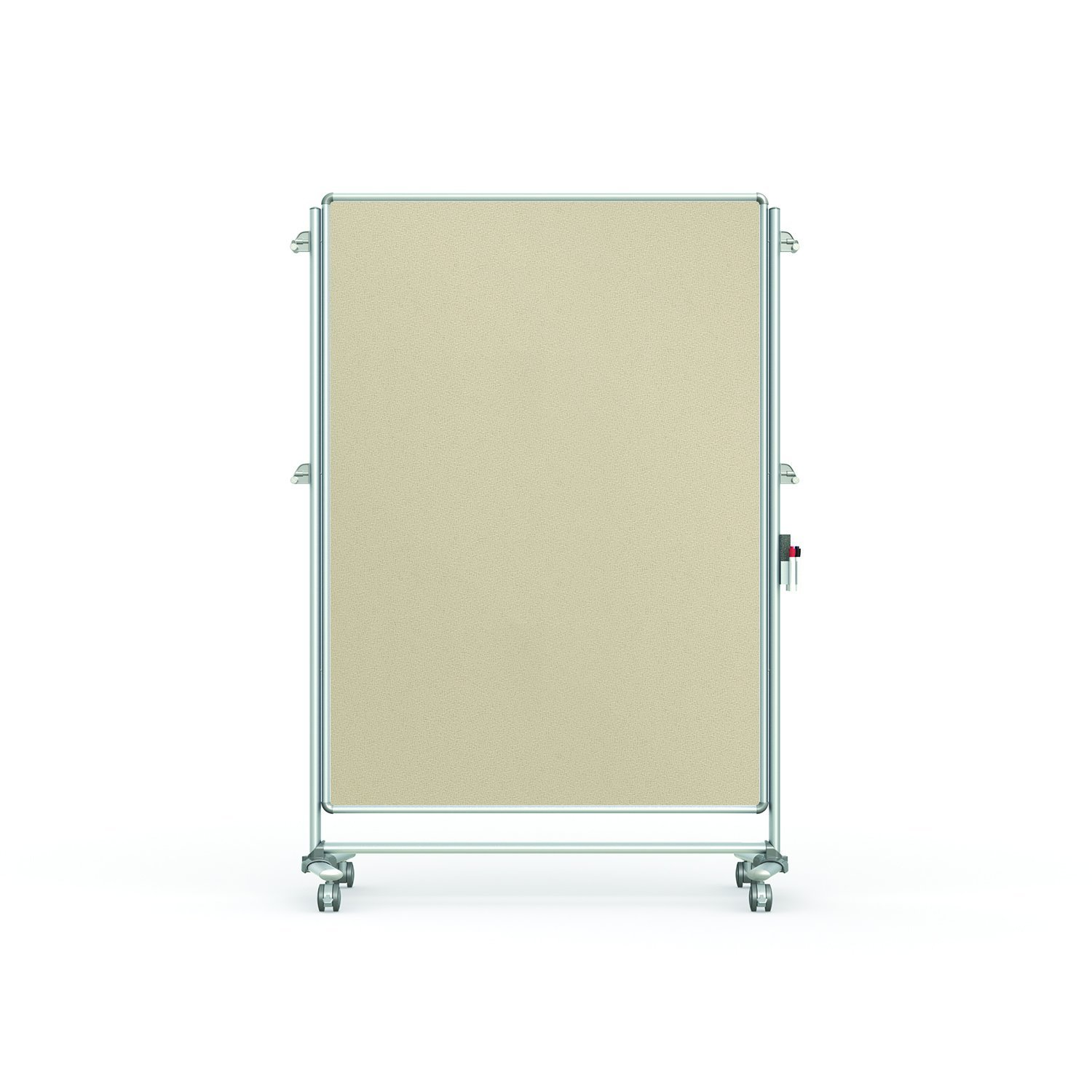 """Ghent 76-1/8"""" x 52-3/8"""" Nexus Partition Mobile Fabric Bulletin Board, Double-Sided, Beige (NEX224FFP-90)"""