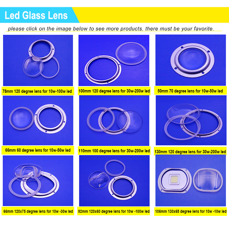 New product Anti-Dazzle 120 Degree Glass LENS With KIts 78mm Diameter IP65