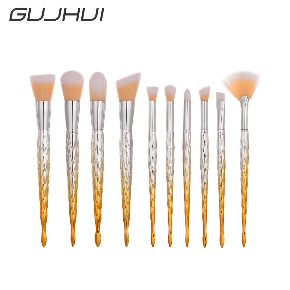 New design 10Pcs Fan Makeup Brush Set Barb Handle Cosmetic Brushes