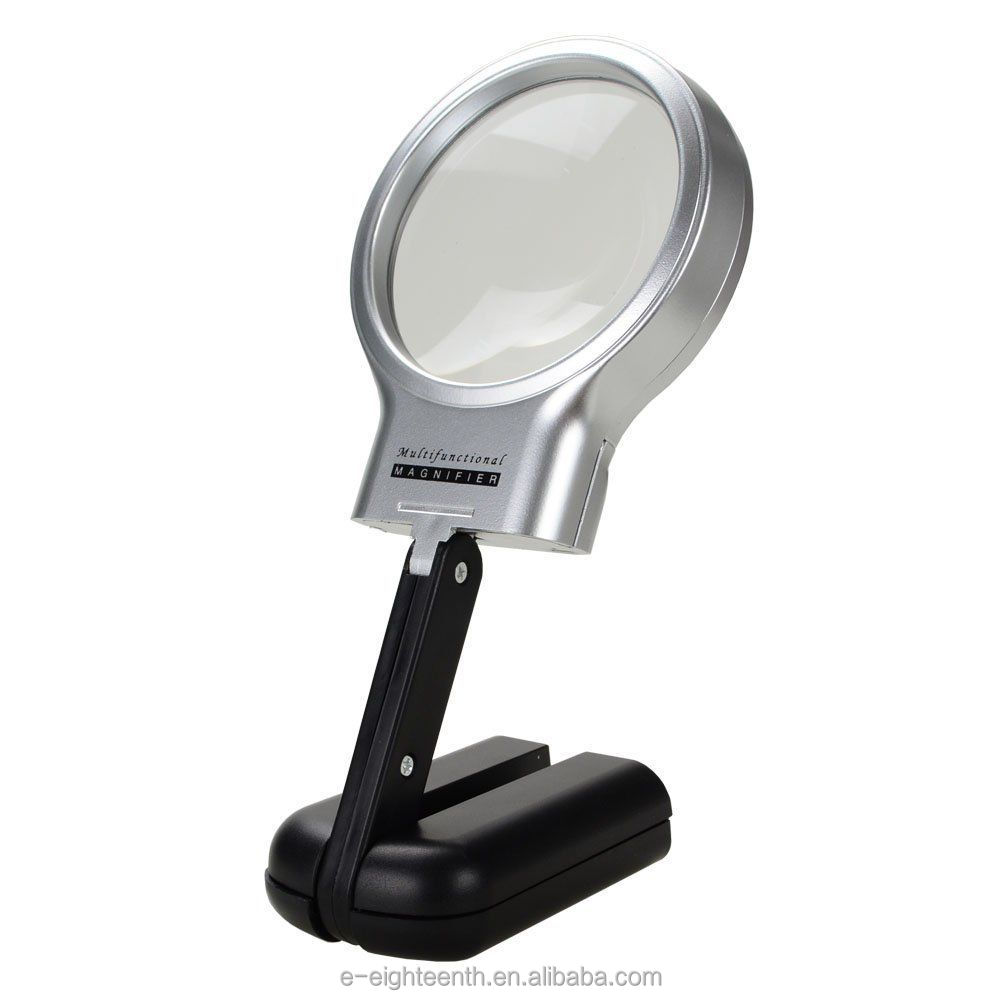 3X Foldable Desktop Handheld Reading Magnifier With 2 LED Magnifying Glass