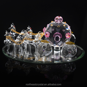 Cinderella Princess Crystal Horse Drawn Carriage Figure Wedding Cake Topper Gifts