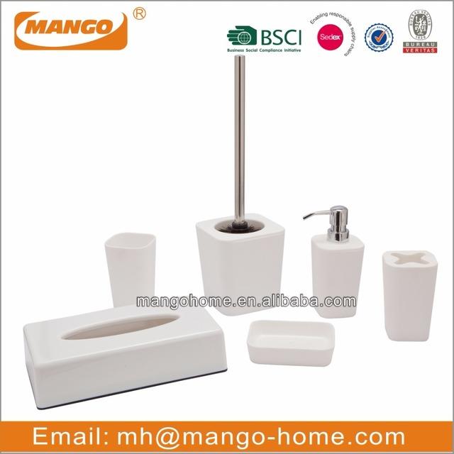 6pcs Modern White Plastic Bathroom Set