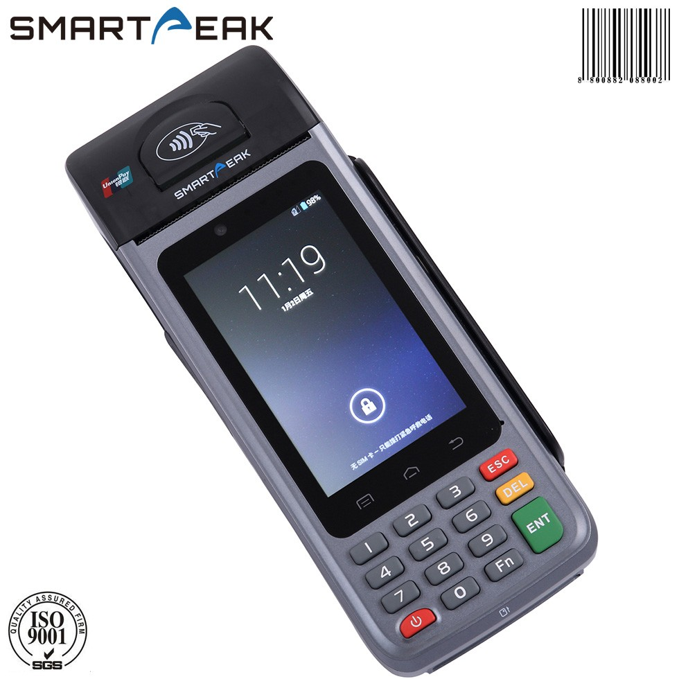 Handheld POS with creditcards, NFC-<strong>payments</strong> or EC <strong>payment</strong>/ laser barcode scanner wifi SIM card bluetooth printer P6000