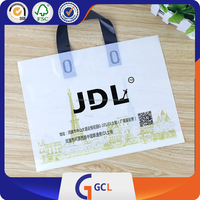 China wholesale patch handle large clear plastic bags with your own logo