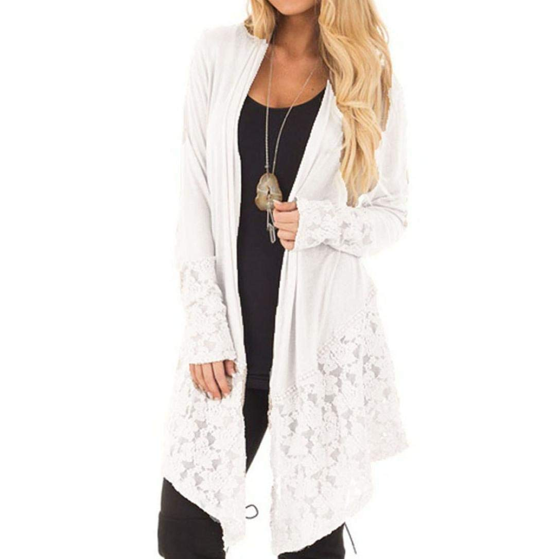 Clearance! Women's Lace Long Sleeve Cardigan Loose Solid Kimono Blouse Top