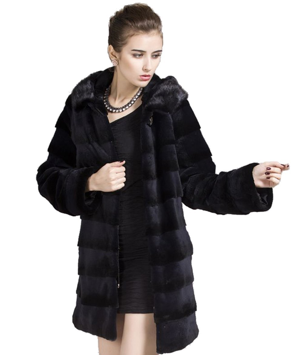 Qiudu Women's Genuine Whole-hide Rex Rabbit Fur Coat Parka With Mink Hoodi