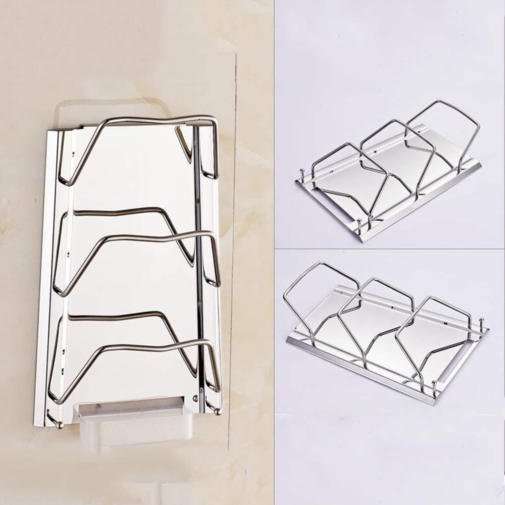 DEE Storage Rack 304 Stainless Steel Kitchen Lid Rack Shelves, Pot Holder Kitchen Utensils Shelf