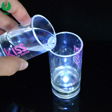 Customized Logo Printed Liquid Activated Plastic Light Up Flashing LED Glass, LED Shot Glass