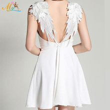 Chinese Factory Promontial Sales Spaghetti Strap Backless Angel Wings Applique Dress