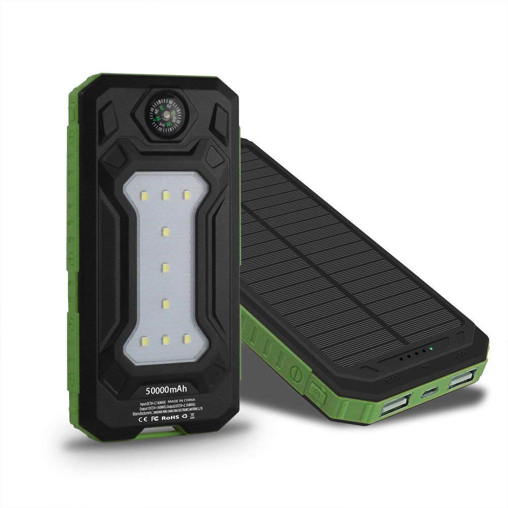 ShopForAllYou External Charger Phone 50000mAh Power Bank External 2 USB 9 LED Solar Battery Charger For Mobile Phone (green)