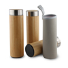 Hot Selling Promotional Gift Double Wall Insulated Stainless Steel Infuser bamboo Water Bottle