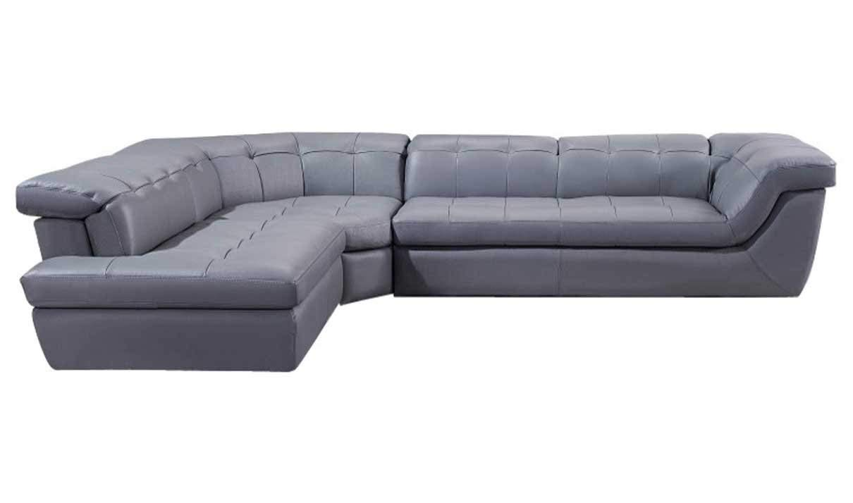 J&M Furniture 397 Italian Leather Left Hand Facing Sectional Sofa in Grey