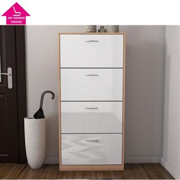 Attirant 4 Door Shoe Cabinet In High Gloss And Oak