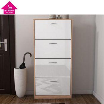 Attirant 4 Door Shoe Cabinet In High Gloss And Oak