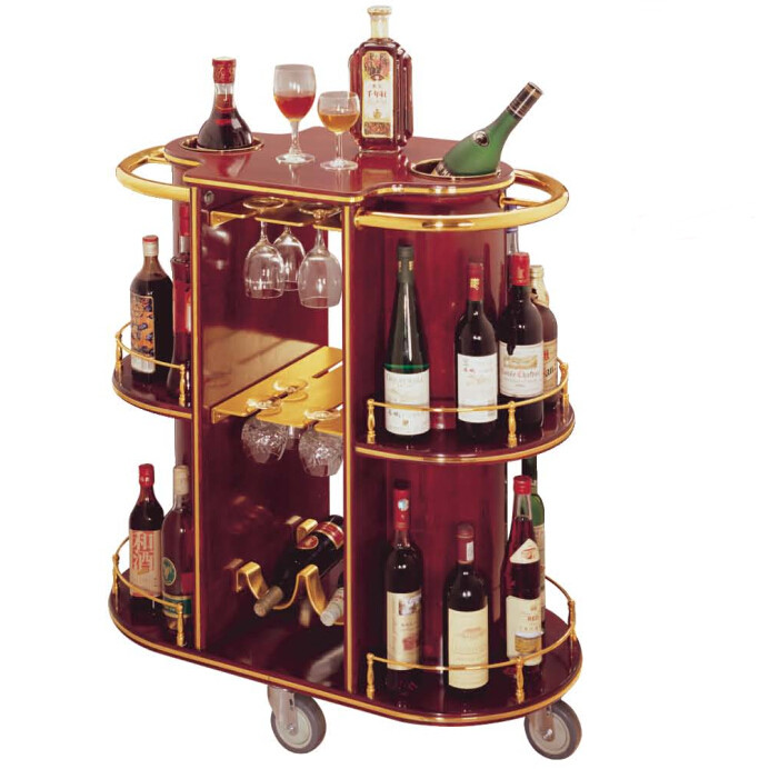 Hotel Articles Luxury Oval Wood Dull Red Mobile Bar Cabinet Home Bar  Furniture Wine Holder Liquor ...