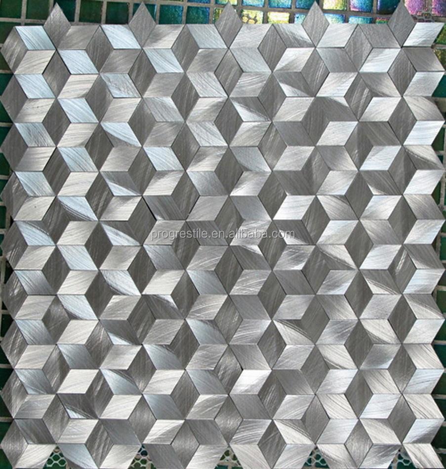 2015 new modern house design 3d diamond aluminum metal mosaic wall tile metal mosaic