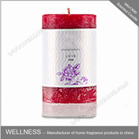 decorative red scented tall pillar candle