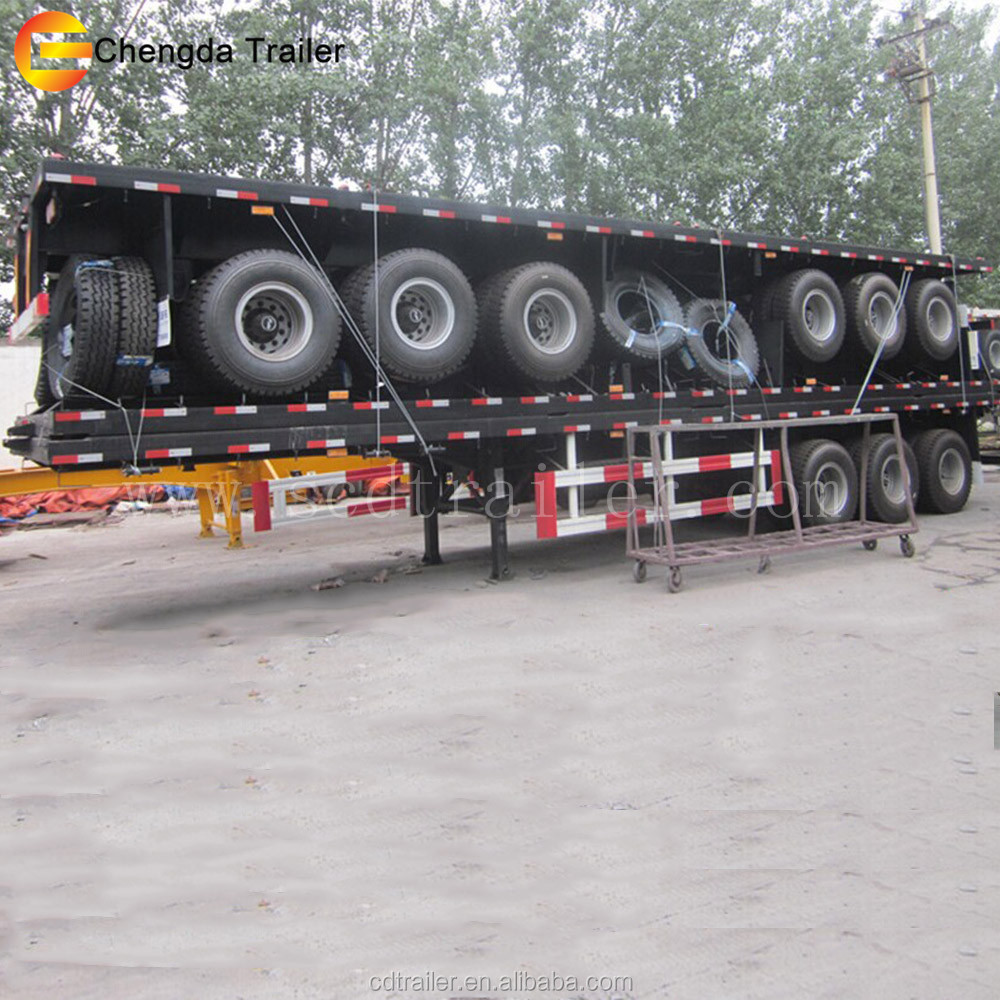trucks driving 20ft container and other goods transporting double axle trailer