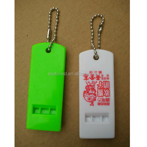 custom logo printed flat plastic whistle, football fans whistle, loudly flat emergency whistles