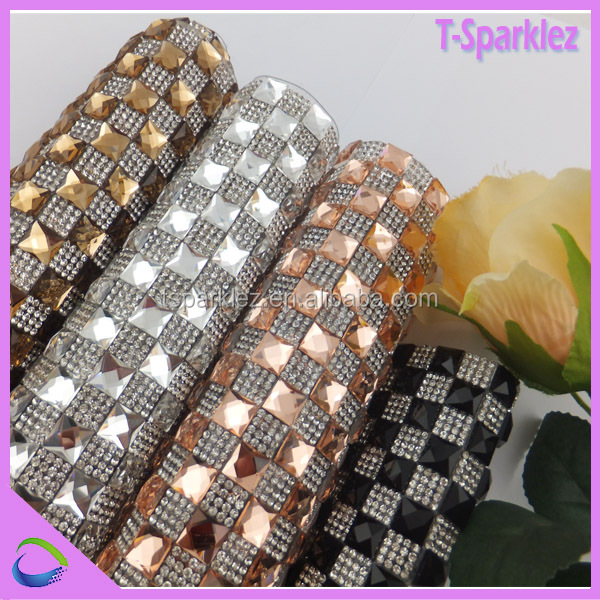 24*40cm iron on crystal mesh heat press diamante sheet for decorating