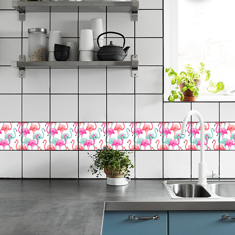 TS008 Flamingo Removable Kitchen Wall Sticker Peel and Stick Tile